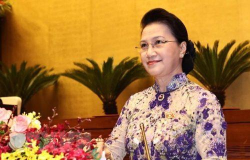 Trong lịch sử 75 năm Quốc hội Việt Nam, nhiệm kỳ Quốc hội khóa XIV mang một dấu ấn đặc biệt khi lần đầu tiên có một nữ chủ tịch Quốc hội. (Ảnh: TTXVN)