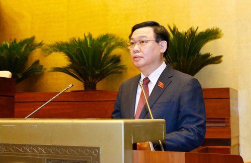 Ủy viên Bộ Chính trị, Chủ tịch Quốc hội khóa XIV Vương Đình Huệ phát biểu khai mạc kỳ họp