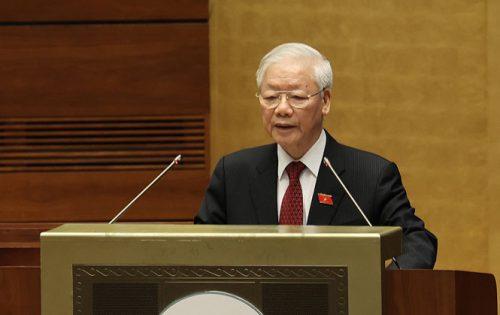 Tổng Bí thư Nguyễn Phú Trọng phát biểu tại phiên khai mạc kỳ họp thứ nhất, Quốc hội khóa XV. Ảnh: Dương Giang