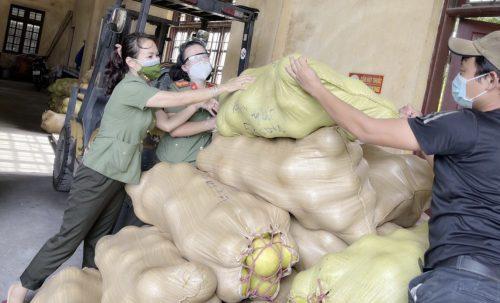 Đợt đầu tiên nữ cán bộ, chiến sỹ CA TP nhận 1.900 quả bưởi Phúc Trạch