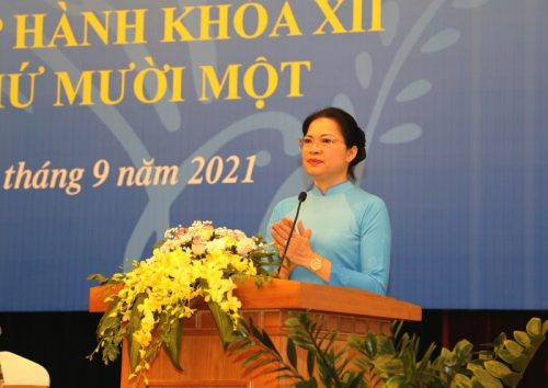 Chủ tịch Hội LHPN Việt Nam Hà Thị Nga phát biểu khai mạc Hội nghị
