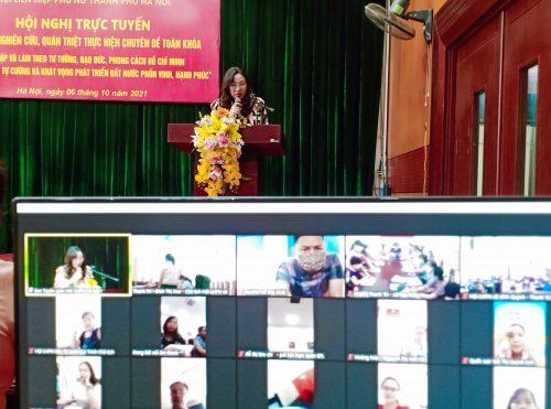 Chương trình được trực tuyến qua ứng dụng Zoom và trực tiếp trên Fanpage Hội LHPN thành phố Hà Nội.